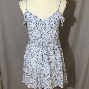 Divided Floral Blue white and black dress